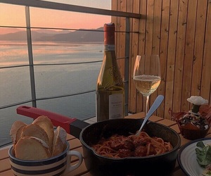 food, wine, and sunset image
