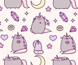 wallpaper, cat, and unicorn image