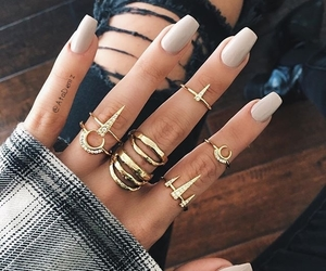 denim, midi rings, and nails image