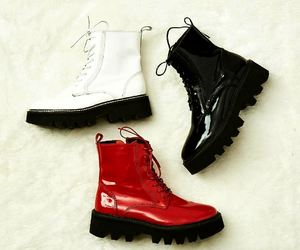 black combat boots, white combat boots, and red combat boots image