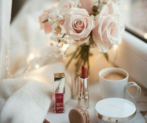 coffee, flowers, and makeup image