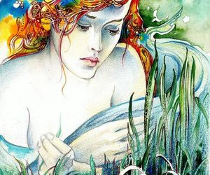 watercolor art and redhead water lily color image