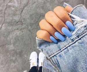 nails, blue, and adidas image