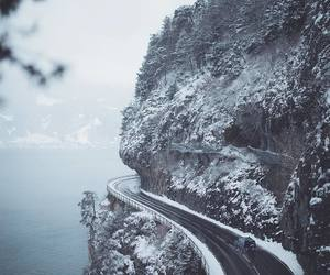 road, winter, and adventure image