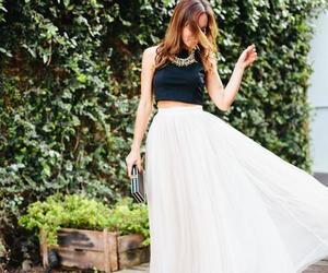 white and black dress, two pieces prom dress, and two pieces outfit image