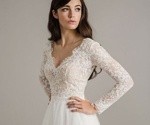dress, hairstyle, and wedding image