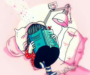 book, art, and pink image