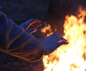 blue, fire, and hands image
