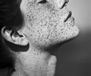 freckles, black and white, and face image