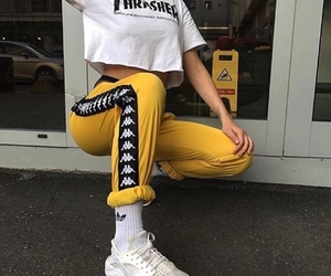 thrasher, outfit, and yellow image
