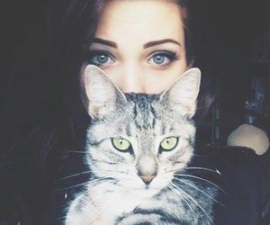 beutiful, cat, and girl image