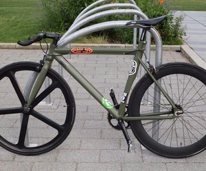 bike, fixie, and green image