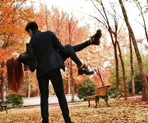 autumn, couple, and hug image