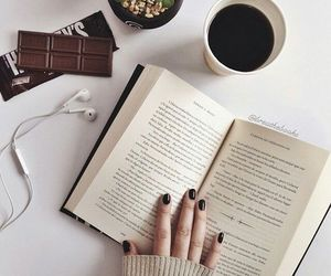 book, nails, and coffee image
