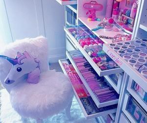 unicorn, pink, and makeup image