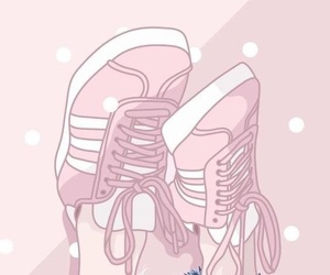 pink, wallpaper, and shoes image