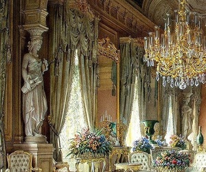 art, chandelier, and flowers image
