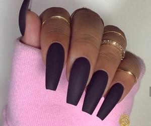 black, black nails, and nails image