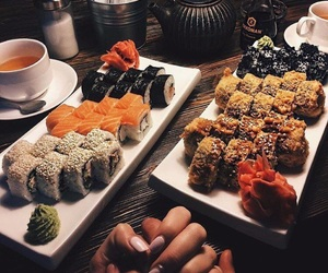 drink, food, and sushi image