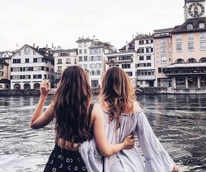 city, friendship, and girl image