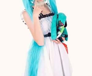 blue, hairstyle, and miku image