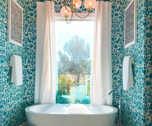 blue sky, simple, and baño image