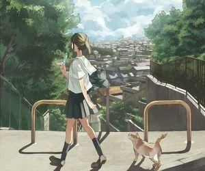 anime, cat, and anime girl image