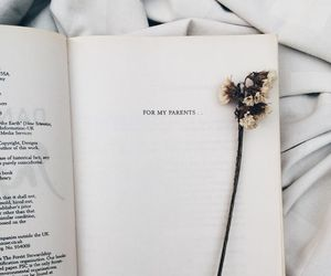 book, white, and flowers image