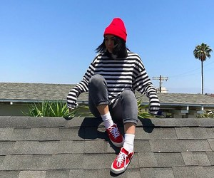 red sneakers, white socks, and red beanie image