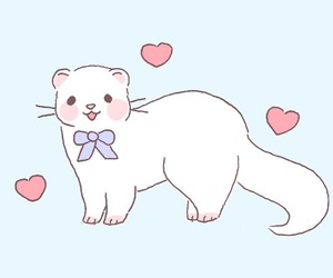 animal, ferret, and hearts image