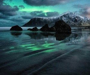 beach, northern lights, and mountains image