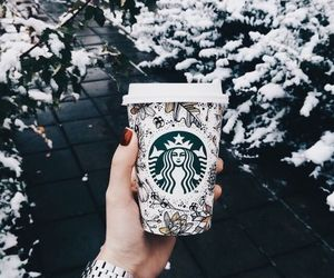 starbucks, winter, and snow image