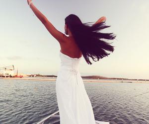 girl, dress, and sea image