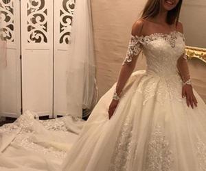 evening dress, bridal gowns, and chiffon dress image
