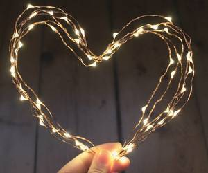 christmas lights, heart, and lights image