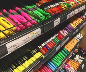 school, supplies, and highlithers image