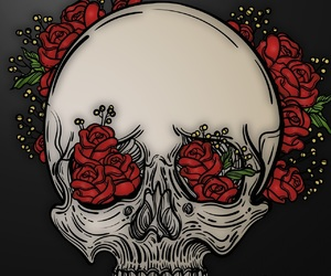 art, red, and roses image