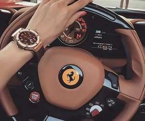 car, ferrari, and woman image