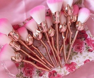 Brushes, makeup, and rose image