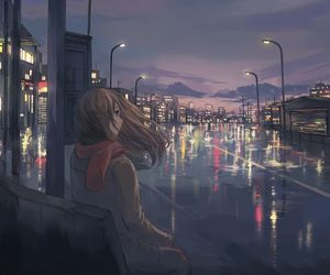 anime, city, and anime girl image