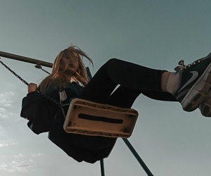 girl, swing, and grunge image