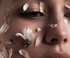 beauty, flowers, and face image