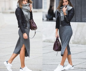 bag, leather jacket, and street style image