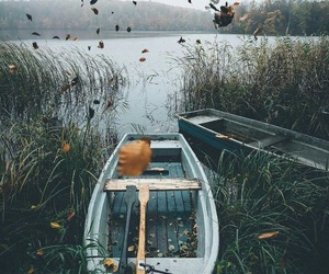 nature, boat, and leaves image