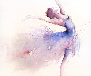 aquarela, ballet, and watercolor image