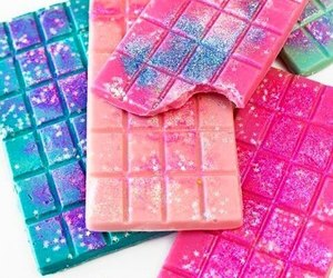 chocolate, pink, and glitter image
