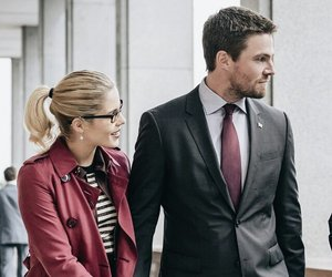 oliver queen, stephen amell, and felicity smoak image