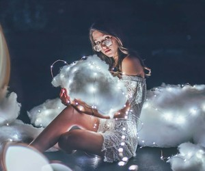 lights, girl, and clouds image