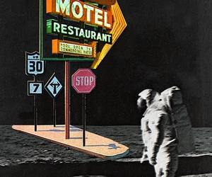 astronaut, moon, and motel image