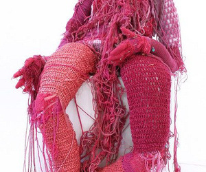knitted, textile art, and pink image